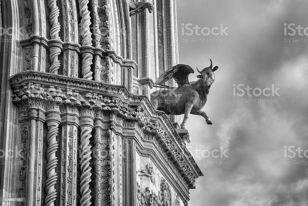 Orvieto Cathedral, facade close-up stock photo