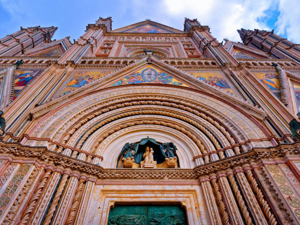 Orvieto Cathedral Facade Front Exterior view closeup stock photo