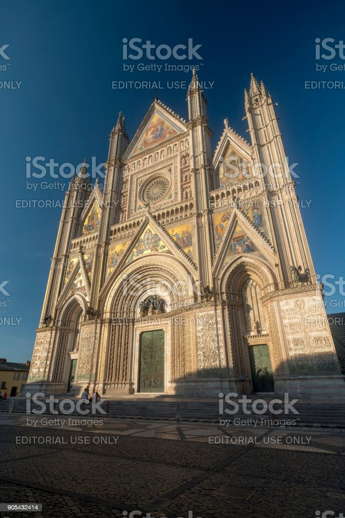 Orvieto (Umbria, Italy), facade of the medieval cathedral, or Duomo stock photo