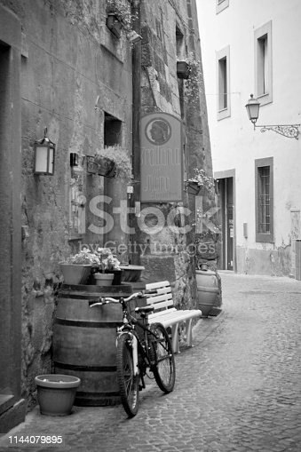 Orvieto in black and white with bicycle