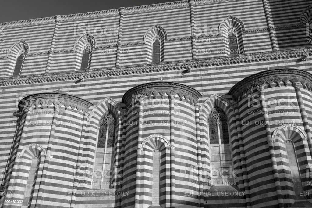 Orvieto (Umbria, Italy), side of the medieval cathedral, or Duomo stock photo
