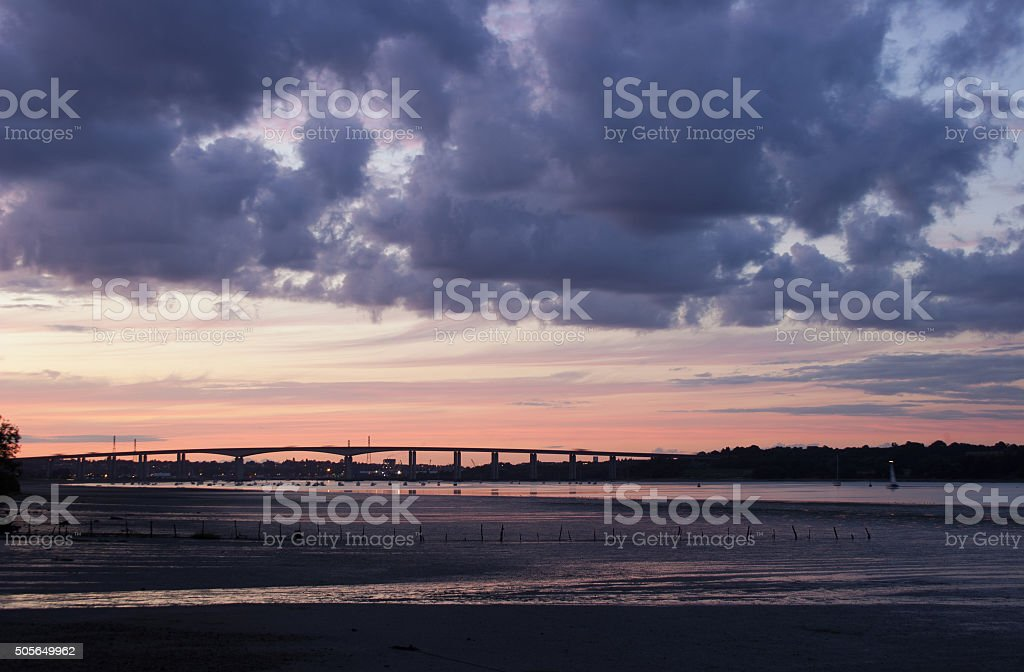 Orwell Bridge and low tide at sunset, Suffolk, UK stock photo