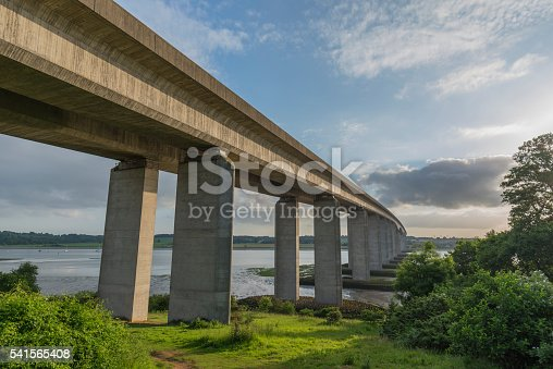 Orwell Bridge spanning the River Orwell on a sunny day in Summer