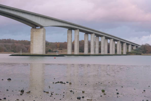 Orwell Bridge in Suffolk with reflections in river stock photo