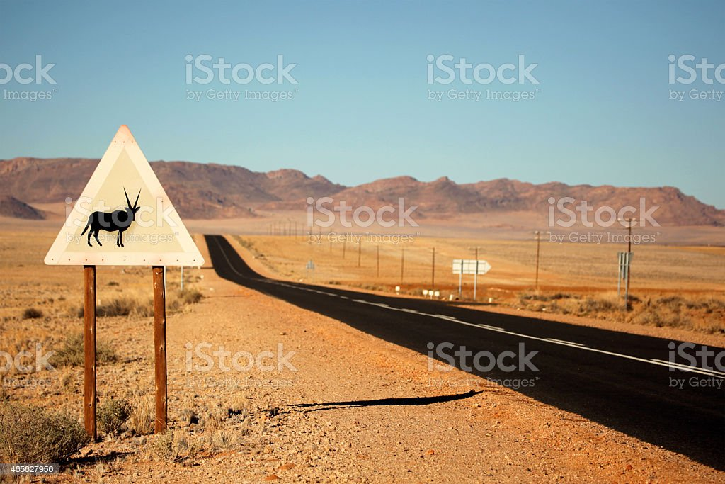 Oryx Road Sign On a Tar Road In Southern Namibia stock photo