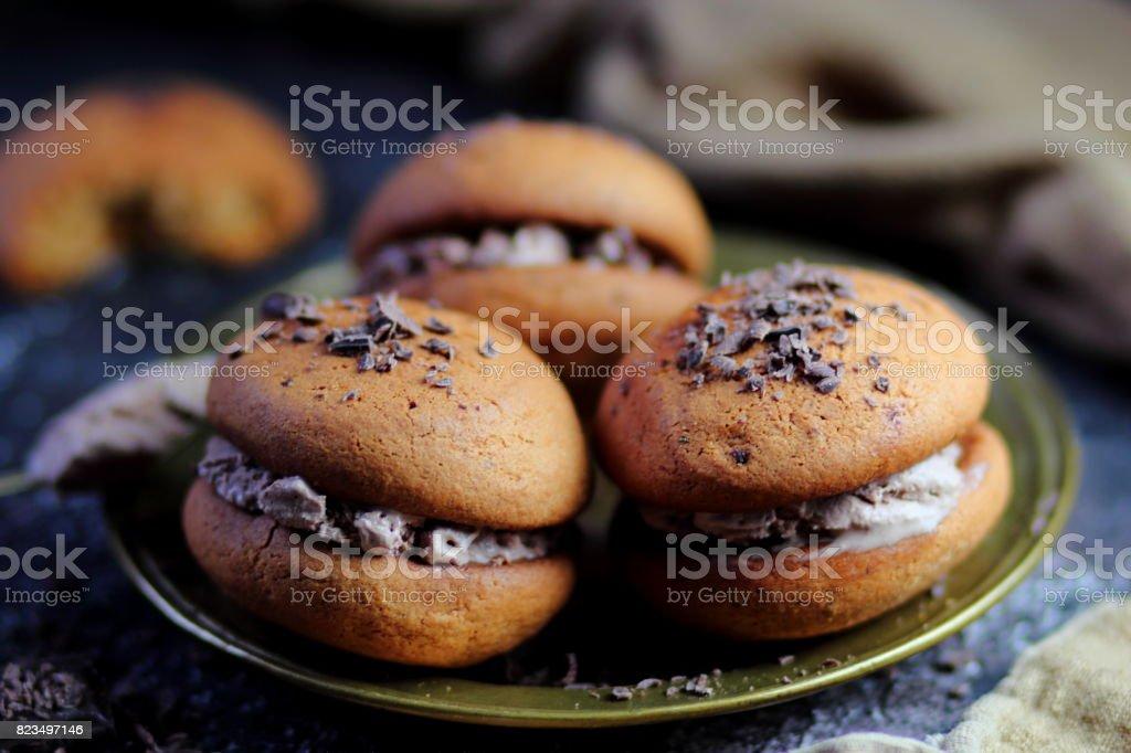 овсяное печенье с мороженым stock photo