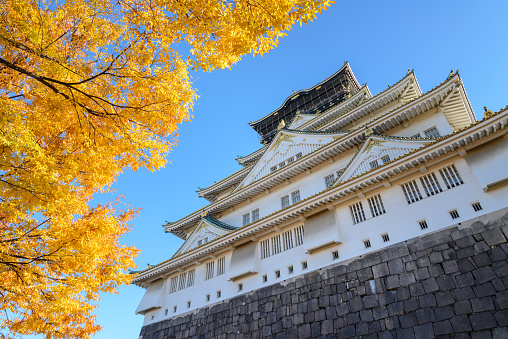 Osaka Castle in autumn,  Japan.