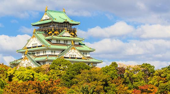 Osaka castle in Osaka.
