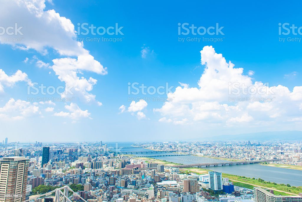 Osaka city landscape, Japan stock photo