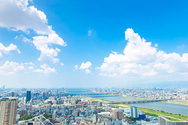 Osaka city landscape, Japan Osaka city landscape, Japan town stock pictures, royalty-free photos & images