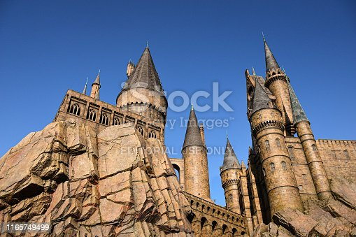 Osaka, Japan - 15 DEC 2017: Hogwarts castle in the wizarding world of Harry Potter.