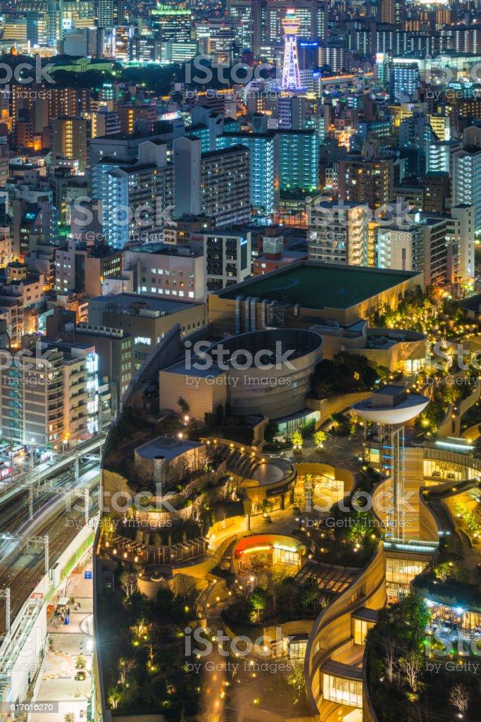 Osaka neon night aerial view over Namba Shinsekai towers Japan stock photo