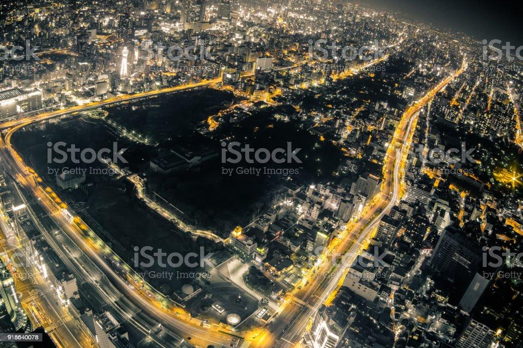 Osaka Night View from Abeno Harukas in Abeno Ward, Osaka, Japan. stock photo