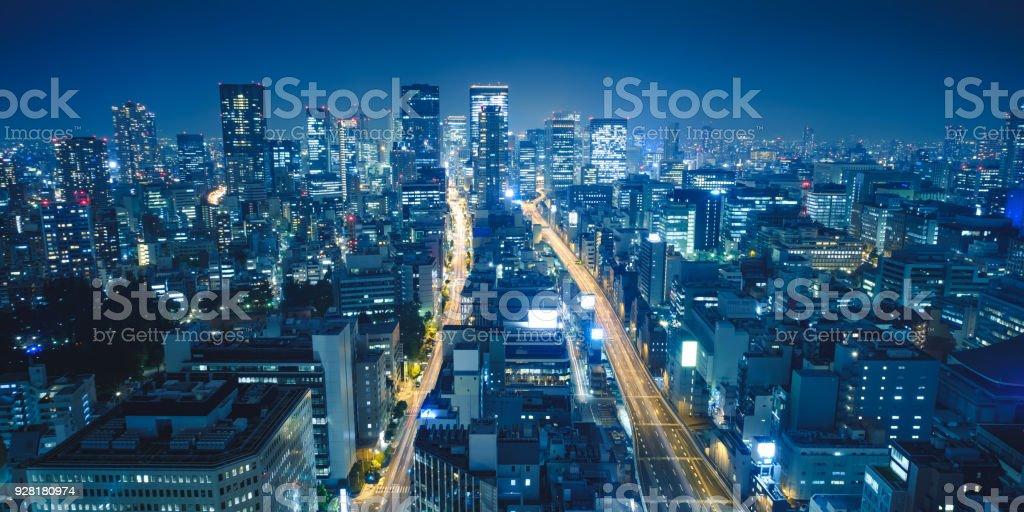 Osaka Night View in Nishi Ward, Osaka, Japan. stock photo