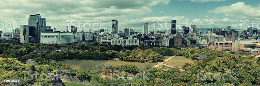 Osaka rooftop view royalty-free stock photo