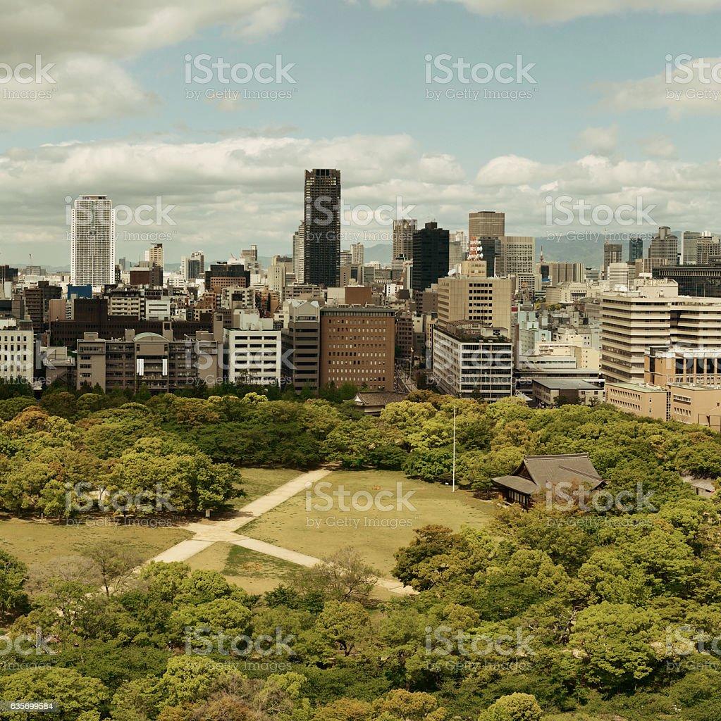 Osaka rooftop view royalty-free stock photo