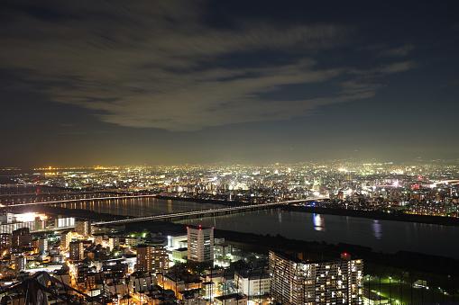 Osaka sky and cityscape night view
