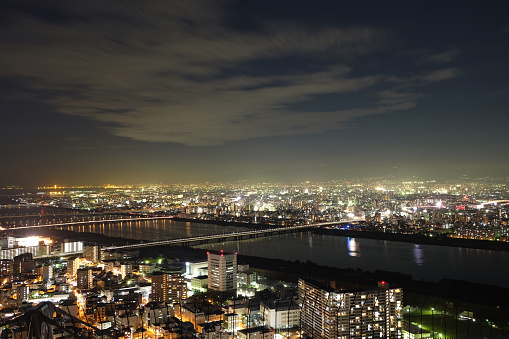 Osaka sky and cityscape night view