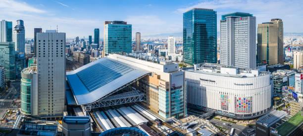 Osaka Umeda Station Innenstadt Wolkenkratzer Hochhaus Stadtbild Luftpanorama Japan – Foto
