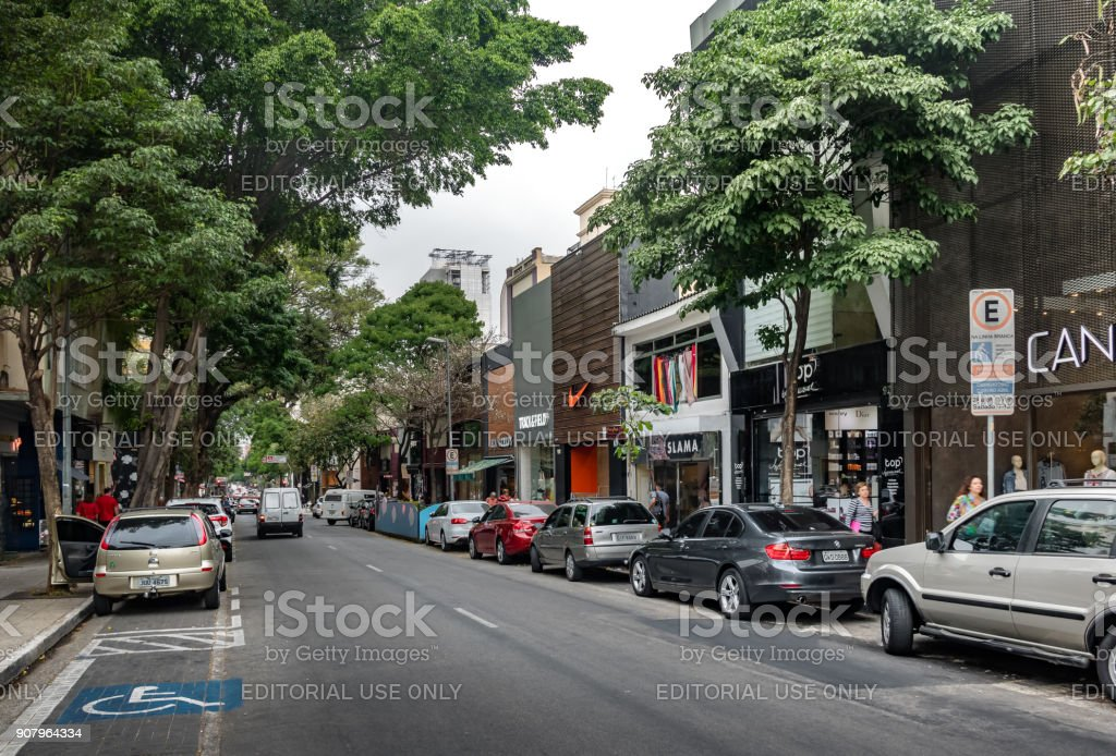 Oscar Freire, a fancy shopping street - Sao Paulo, Brazil stock photo