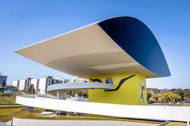 oscar niemeyer museum - curitiba, parana, brazil - curitiba stock photos and pictures