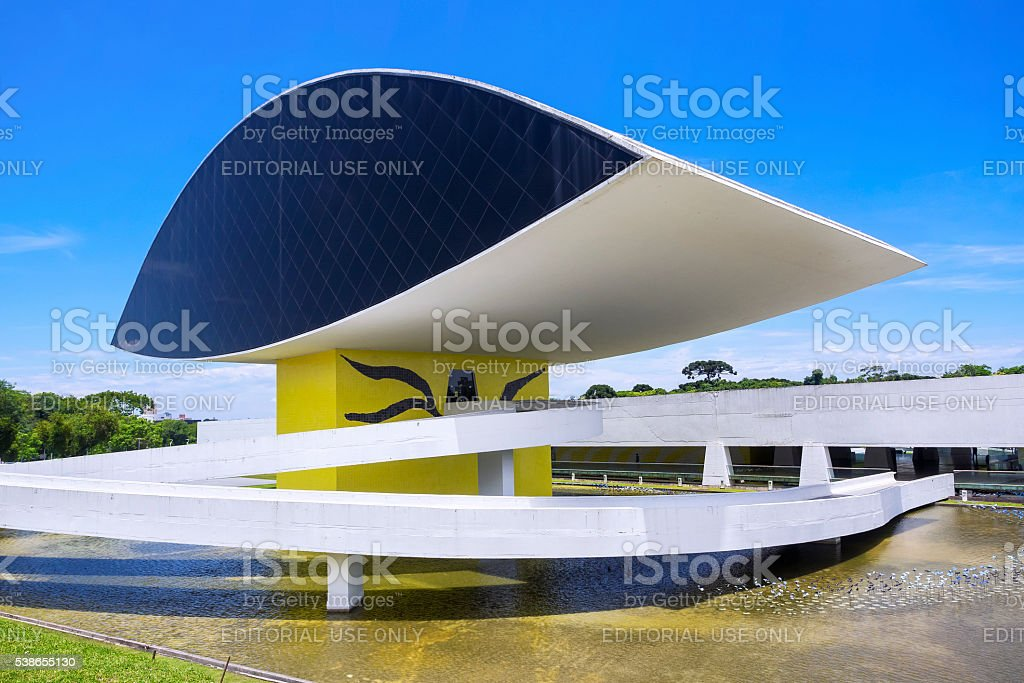 Oscar Niemeyer Museum in Curitiba, Parana, Brazil stock photo