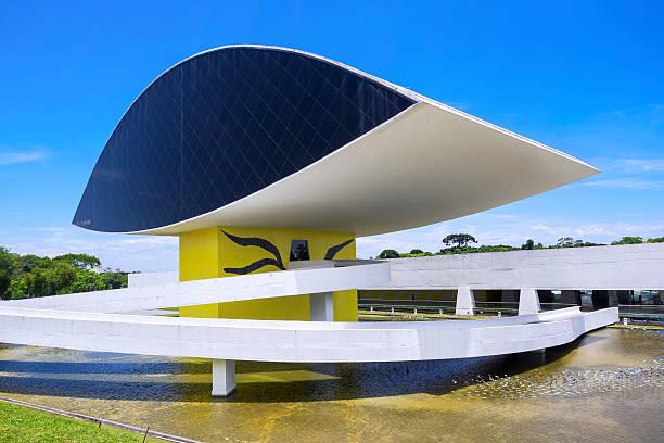 oscar niemeyer museum in curitiba, parana, brazil - curitiba stock photos and pictures