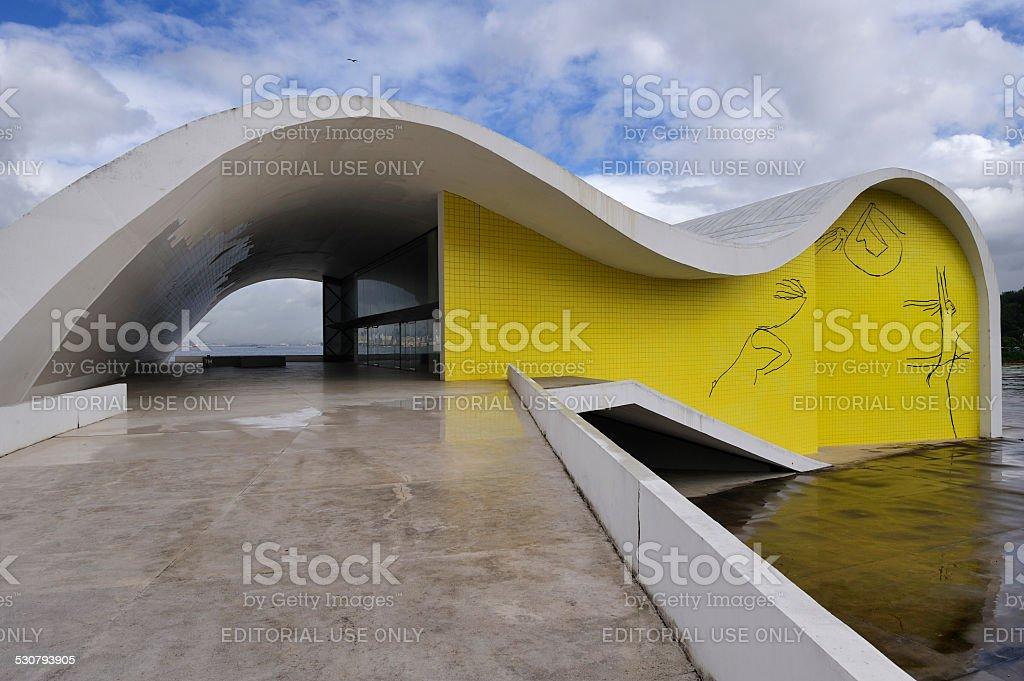 Oscar Niemeyer's Popular Theater of Niteroi, Rio de Janeiro, Brazil stock photo