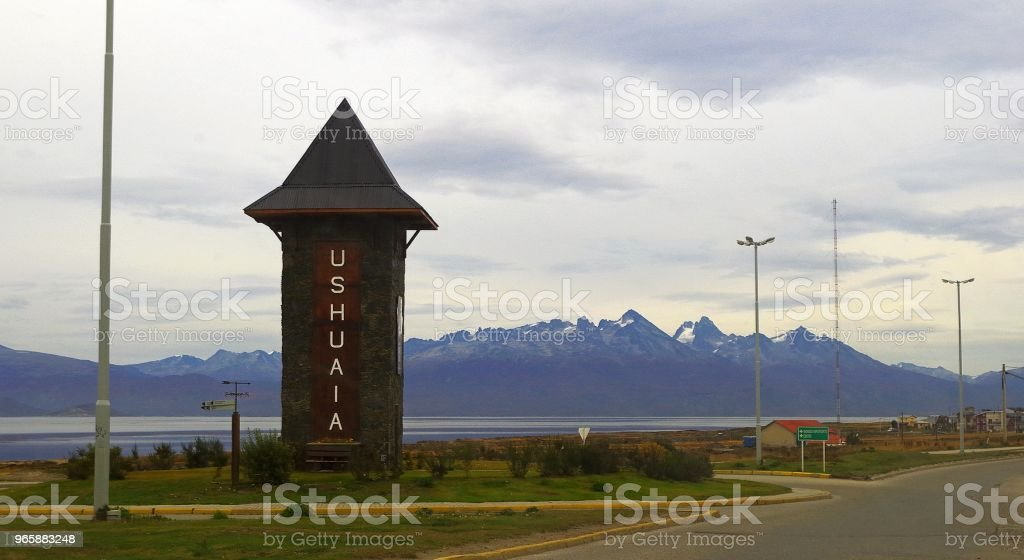 Osean, bergen en grijze hemel. Ushuaia, Argentinië. - Royalty-free Argentinië Stockfoto