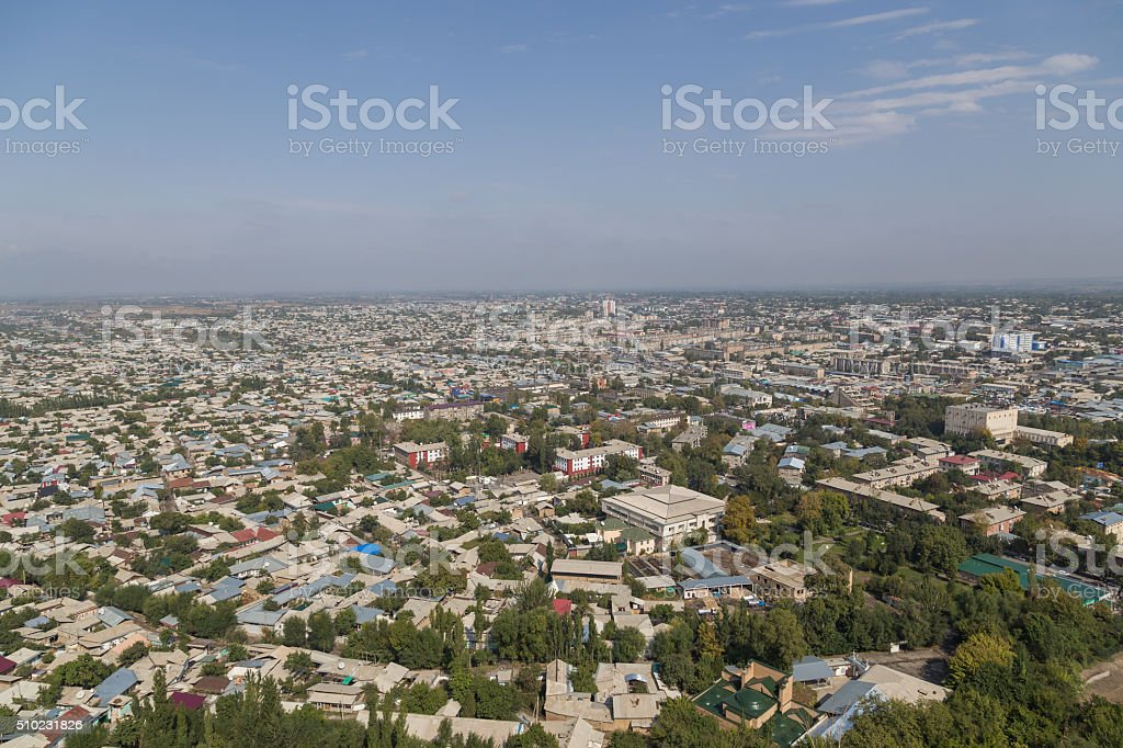 Osh skyline as seen from Sulaiman Mountain stock photo
