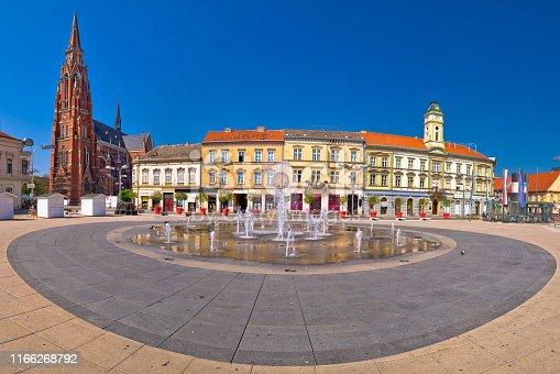 istock Osijek main square and cathedral panoramic view 1166268792