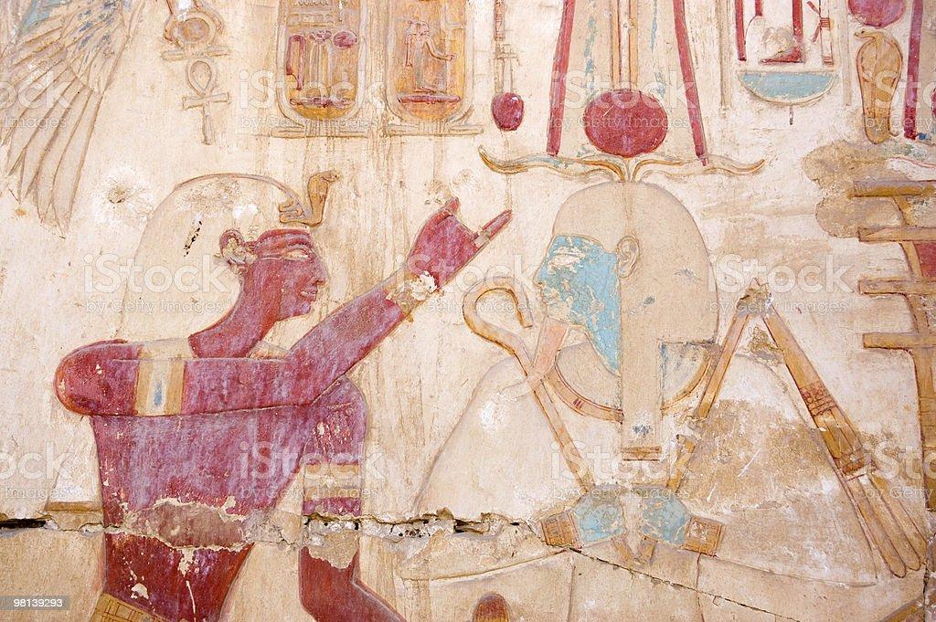 Osiris and Seti wall painting stock photo