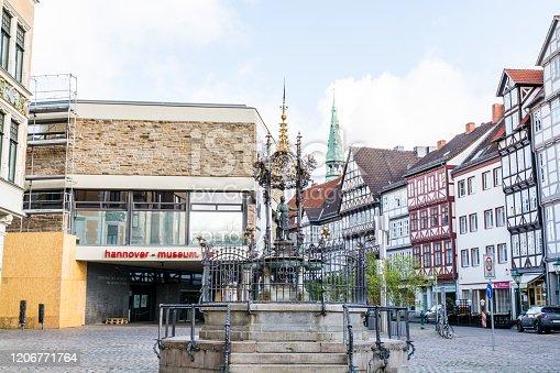 Oskar-Winter-Brunnen brass ring embedded in the ironwork of this ornate 1896 fountain, Hanover, Germany