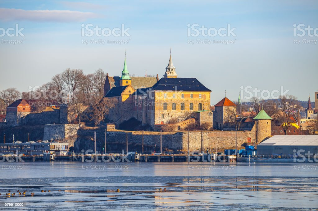 Oslo, Akershus fort, Norway. Frostly winter view. stock photo