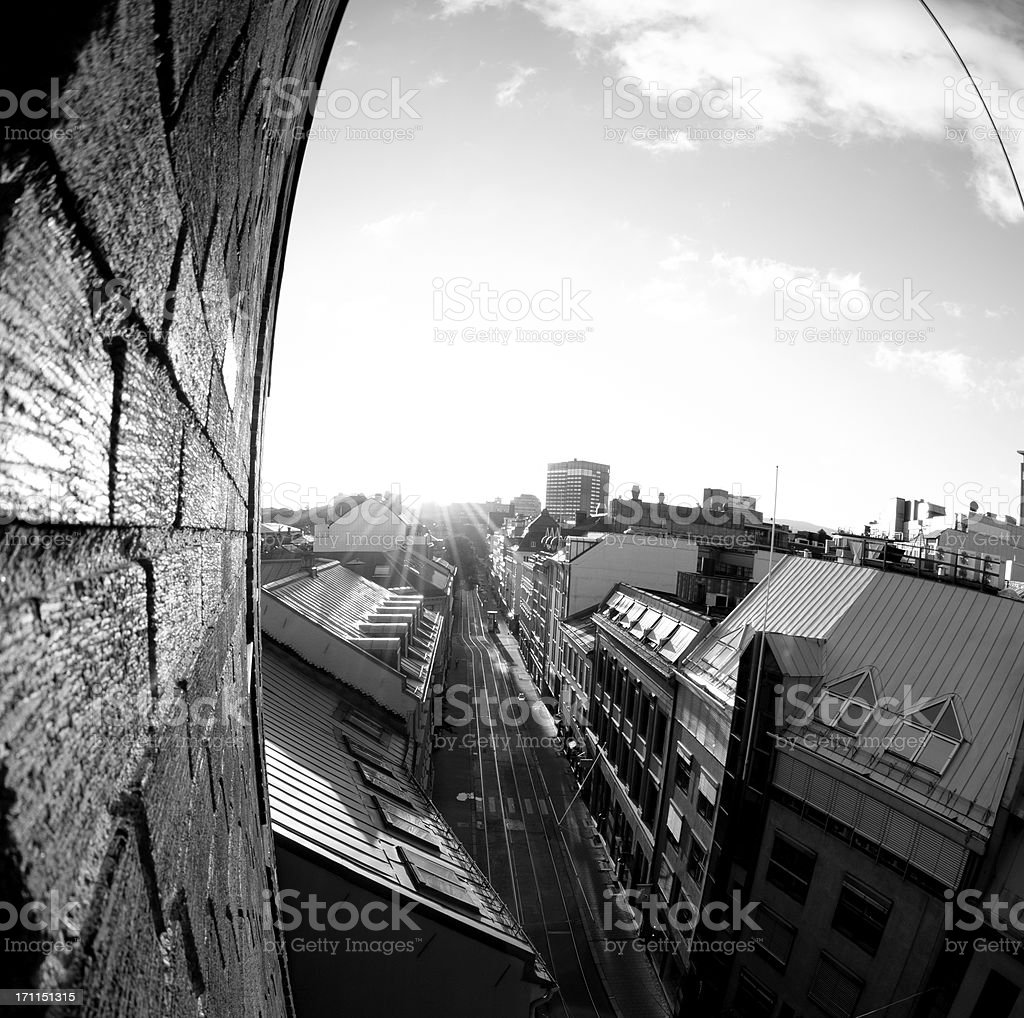 oslo backlight from a building window viewing the street royalty-free stock photo