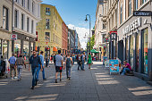 Oslo City  and street scene with people and traveller / Oslo, Norway