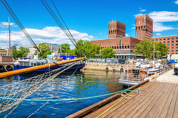 Oslo City Hall from Harbour, Norway Amazing Oslo City Hall seen from Oslo Harbour, Oslo Fjord, Norway oslo stock pictures, royalty-free photos & images