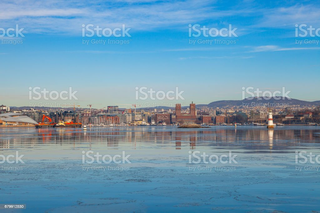 Oslo city waterfront, sunny winter day stock photo