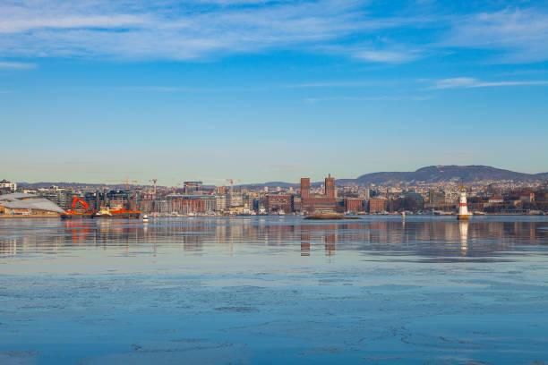 Oslo city waterfront, sunny winter day stock photo