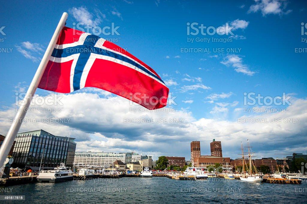 Vista da cidade de Oslo, Noruega, bandeira - fotografia de stock