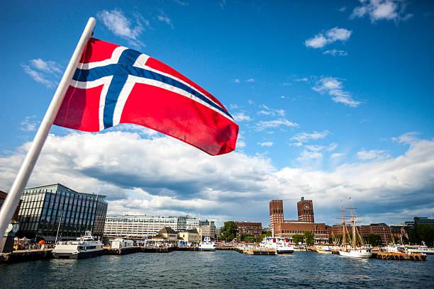 oslo stadt und norwegen flagge - norwegen fahne stock-fotos und bilder