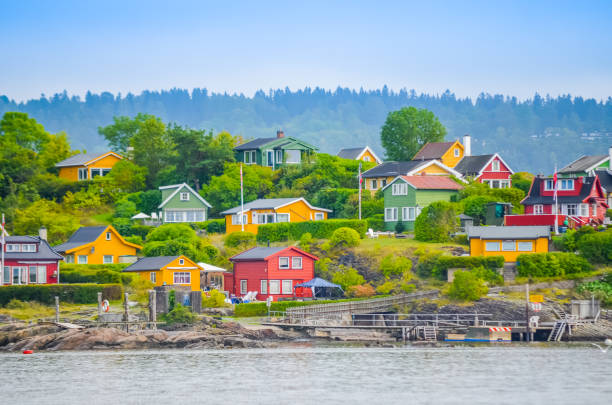 Oslo colorful houses on the fjord