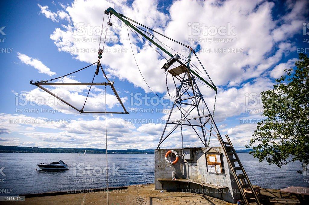 Oslo Fjord, Boat handling equipment, crane lifting boats and yachts...