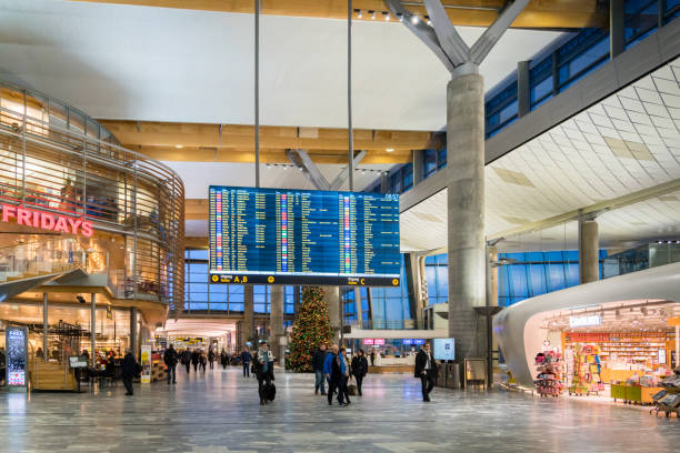 oslo gardermoen international airport departure terminal architecture, norway - airport terminal stock photos and pictures