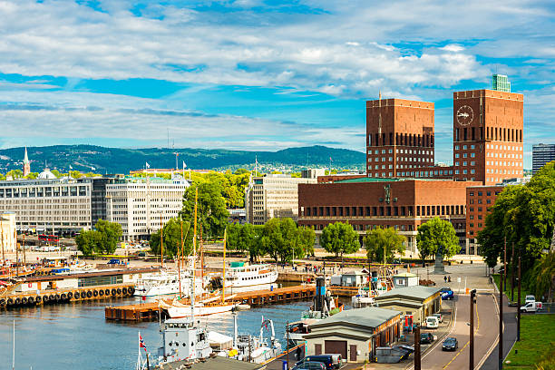 Oslo harbor and city hall Oslo harbor and city hall oslo stock pictures, royalty-free photos & images