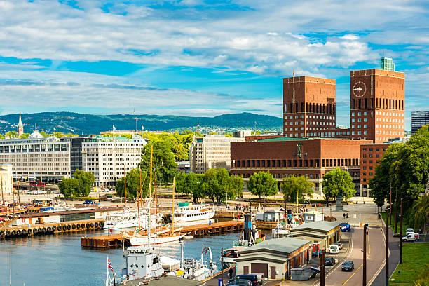 Oslo harbor and city hall stock photo