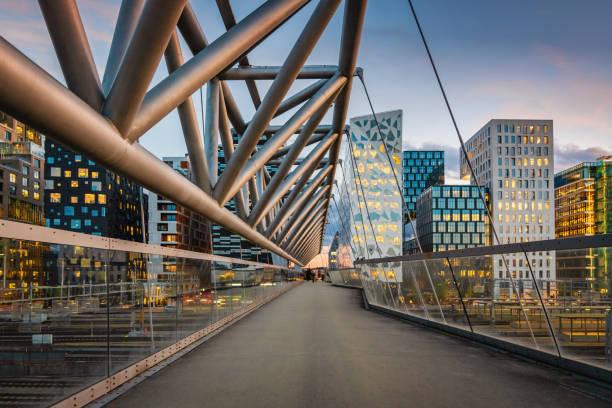 Oslo Modern Skyline Norway at Dusk stock photo