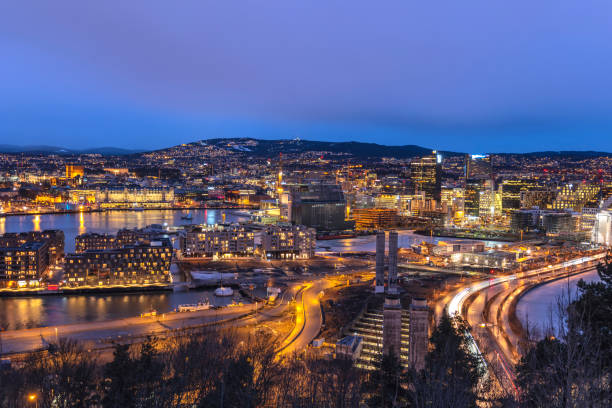 Oslo night aerial view city skyline at business district and Bercode Project, Oslo Norway