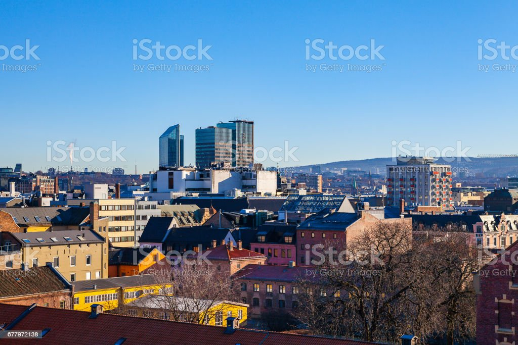 Oslo, Norway. Aerial view of city from the Akershus fort stock photo