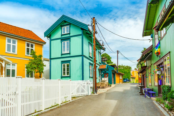 Oslo, Norway: Colorful wooden houses on a street of Oslo stock photo